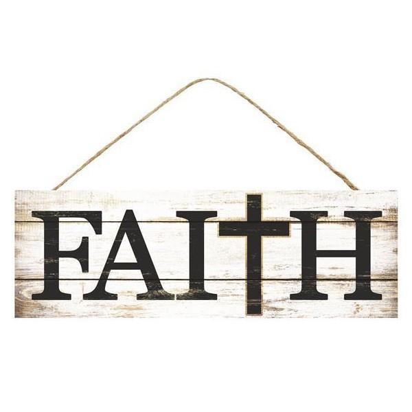 15″L X 5″H Faith W/Cross Sign