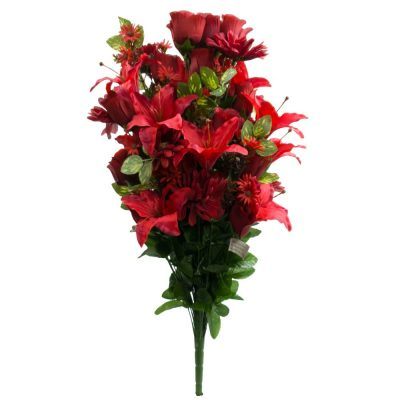 27″ Silk Lily, Gerber, Rose Bud Mixed Bush With 72 Stems in Burgundy