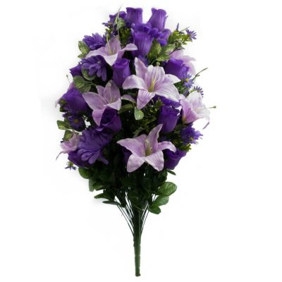 27″ Silk Lily, Gerber, Rose Bud Mixed Bush With 72 Stems in Lavender