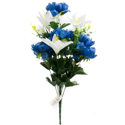 24 Inch Silk Mixed Peony, Lily, Flower Bush with 18 Stems Blue/White