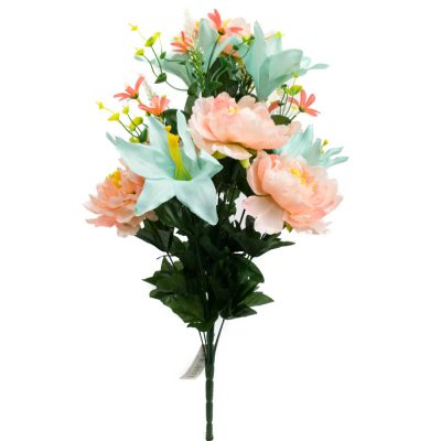 24 Inch Silk Mixed Peony, Lily, Flower Bush with 18 Stems Coral/Turquoise