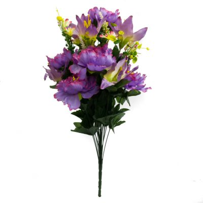 24 Inch Silk Mixed Peony, Lily, Flower Bush with 18 Stems Lavender