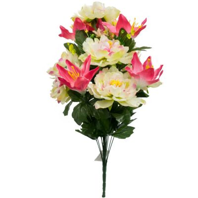 24 Inch Silk Mixed Peony, Lily, Flower Bush with 18 Stems Pink Creme