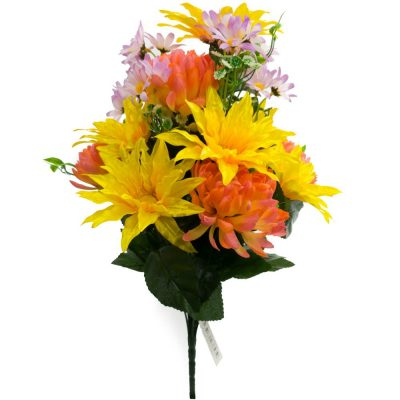 20″ Football Mum Mixed Silk Flower Bush With 18 Stems-Orange Yellow