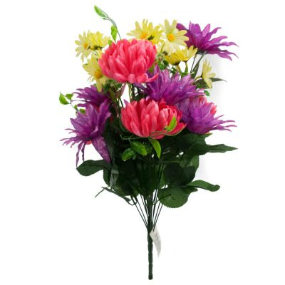 20″ Football Mum Mixed Silk Flower Bush With 18 Stems-Purple Pink