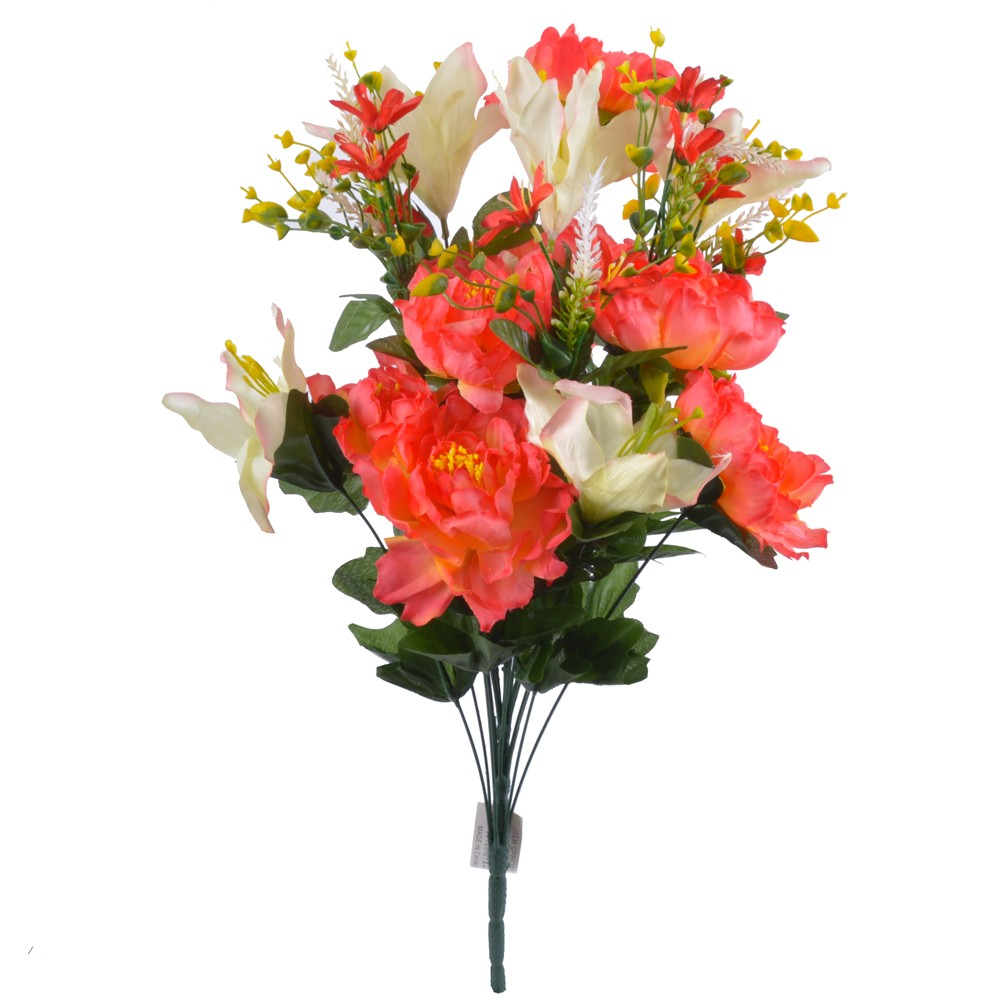 24 Inch Silk Mixed Peony, Lily, Flower Bush with 18 Stems Coral/Cream