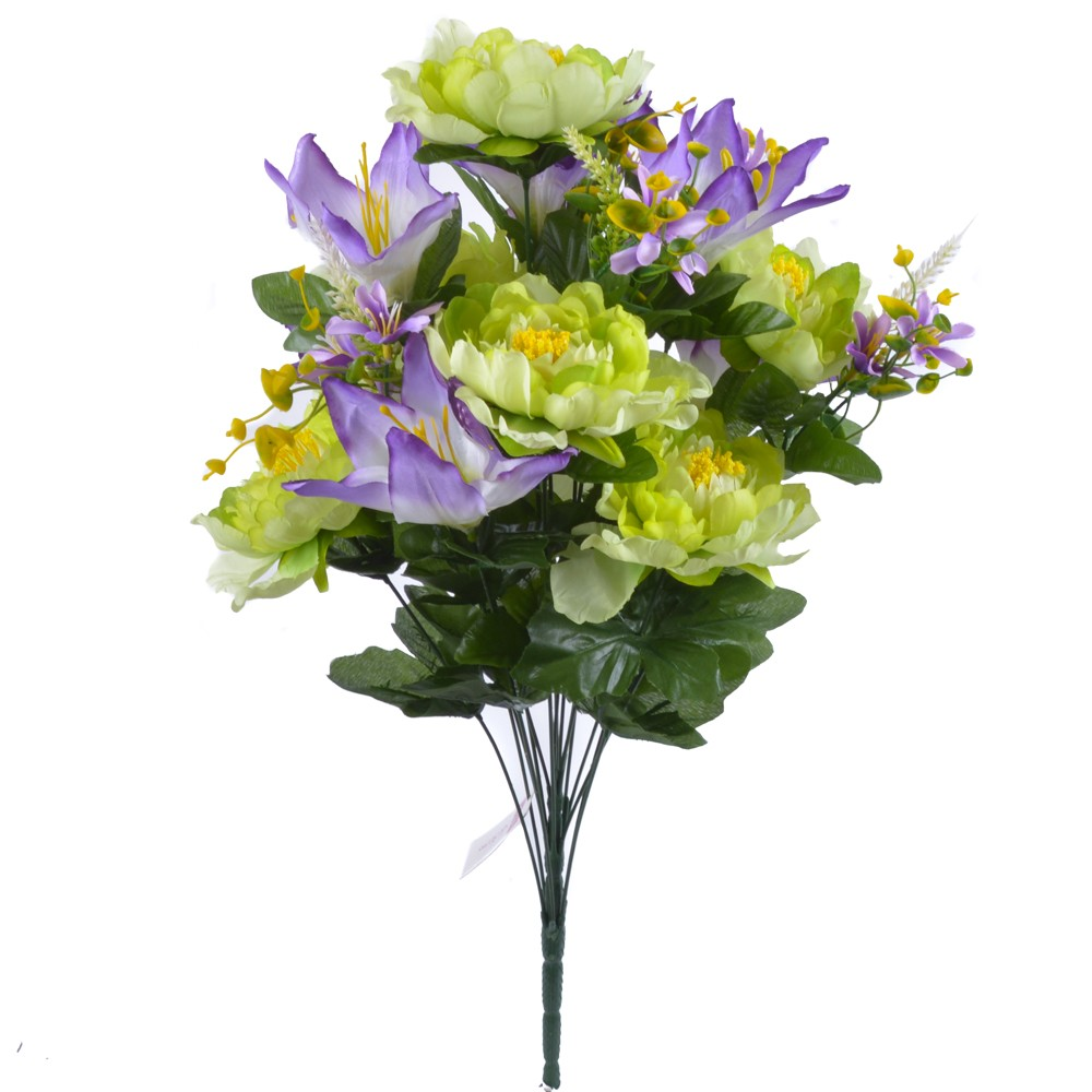24 Inch Silk Mixed Peony, Lily, Flower Bush with 18 Stems Lavender/Green