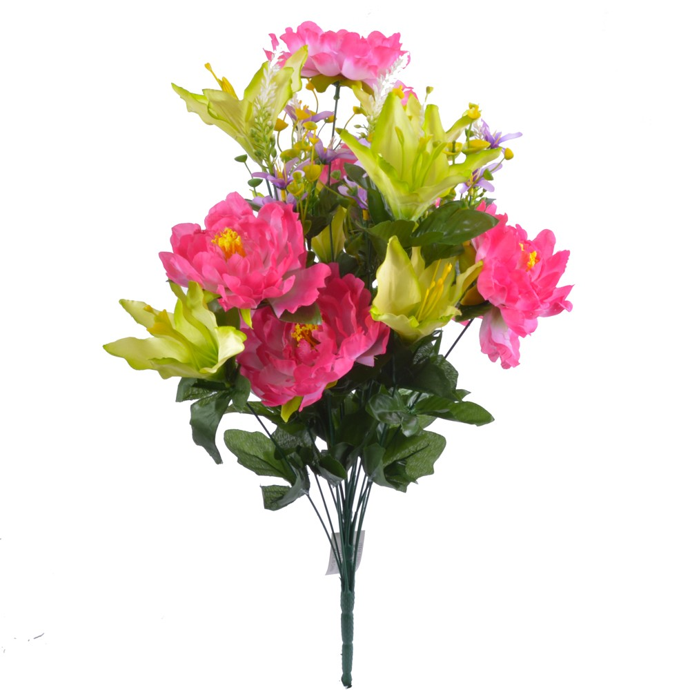 24 Inch Silk Mixed Peony, Lily, Flower Bush with 18 Stems Pink/Green