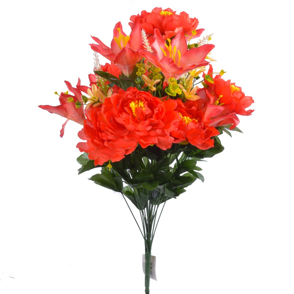 24 Inch Silk Mixed Peony, Lily, Flower Bush with 18 Stems Red