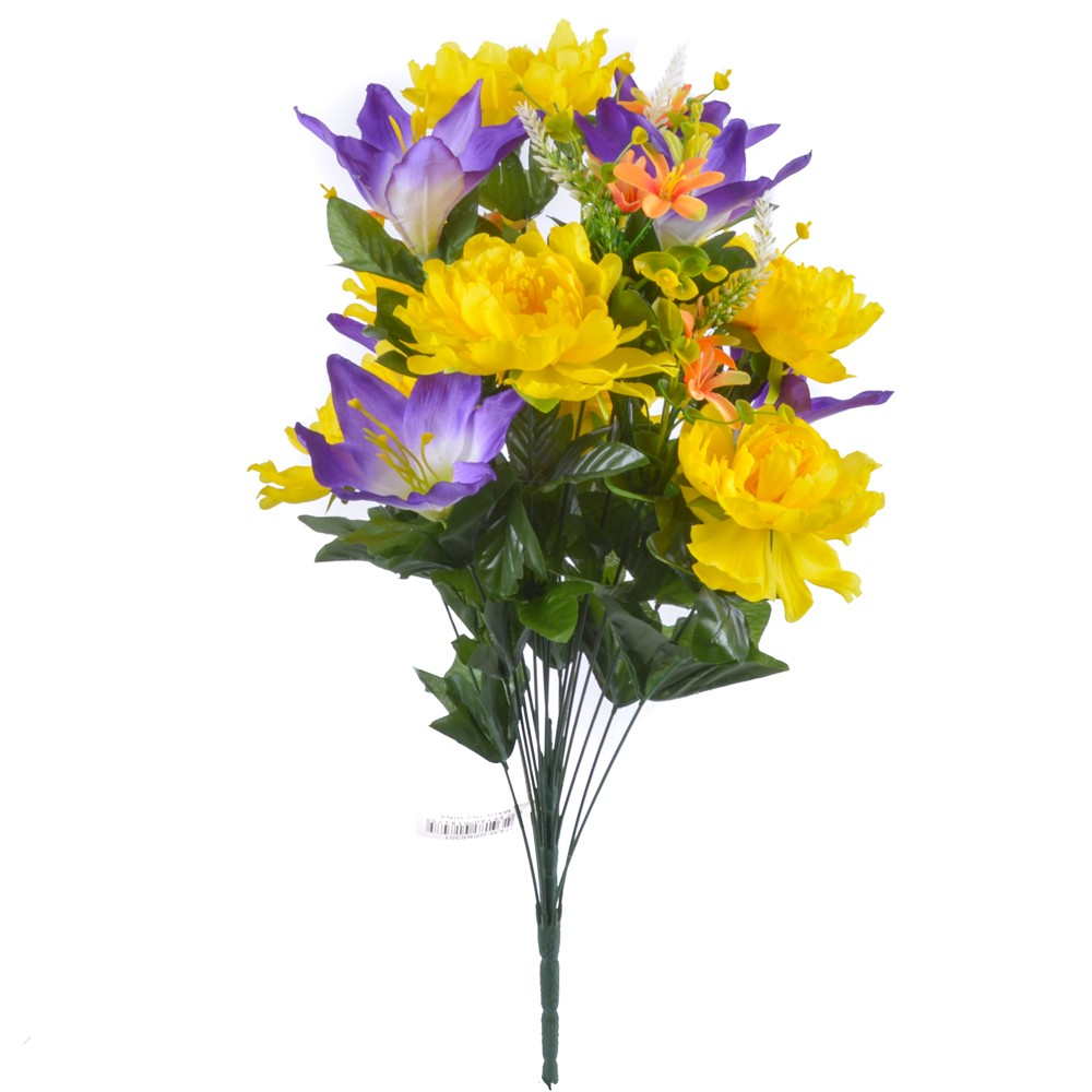 24 Inch Silk Mixed Peony, Lily, Flower Bush with 18 Stems Yellow/Purple