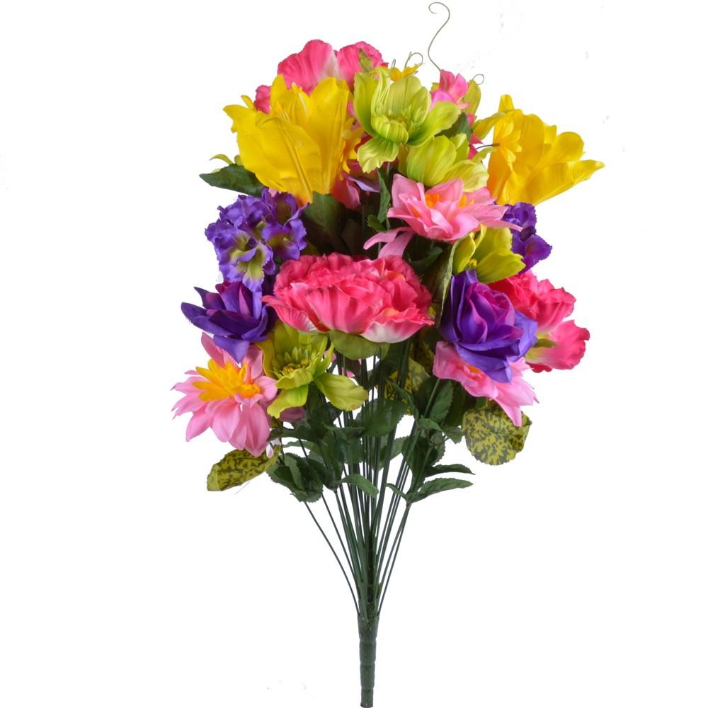 28″ Silk Mixed Flower Bush with 36 Stems in Fuchsia Yellow Kiwi