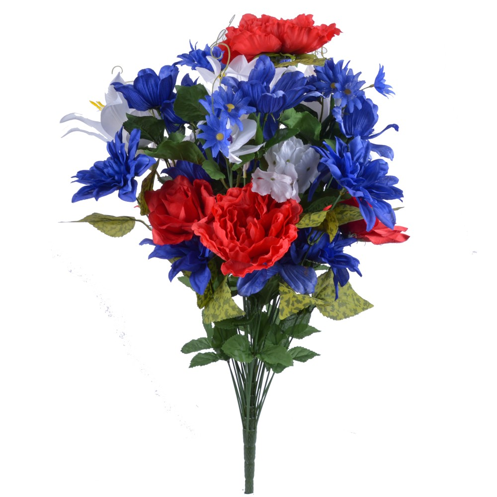 28″ Silk Mixed Flower Bush with 36 Stems in Red, White, And Blue